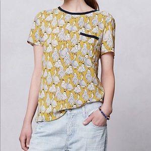 Anthropologie Maeve printmaker blouse size 2